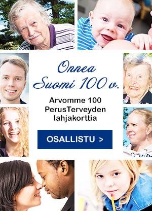 Onnea suomi 100! Arvomme 100 perusteveyden lahjakorttia. Osallistu